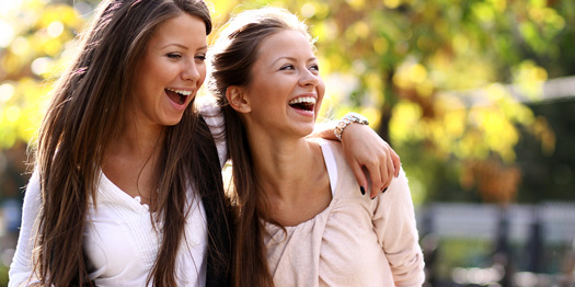Two Cheerful Girls Outside