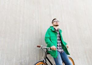 Happy man with bike