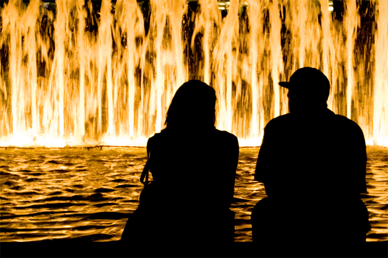 Couple at water light show