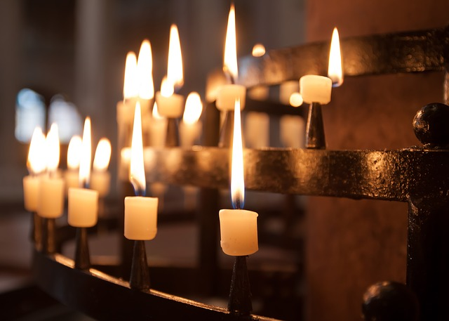 candles burning in church