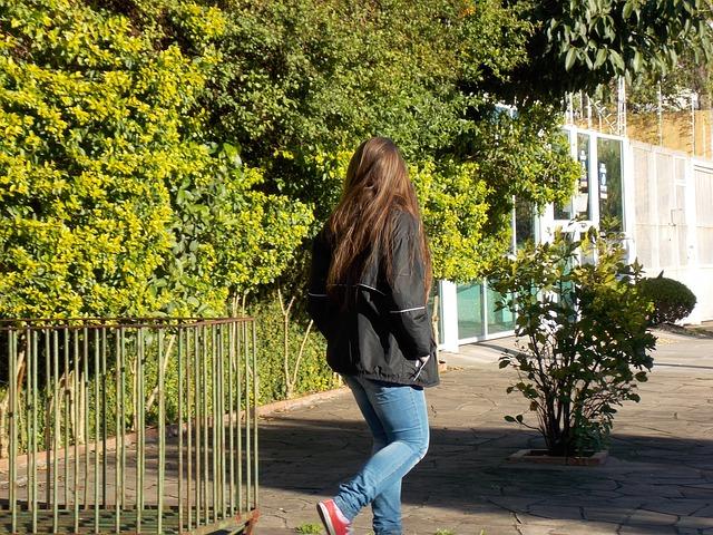 Teen walking