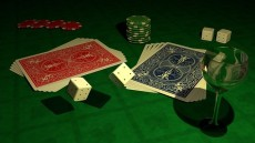 Cards and dice on poker table