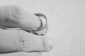 Hand with wedding ring off