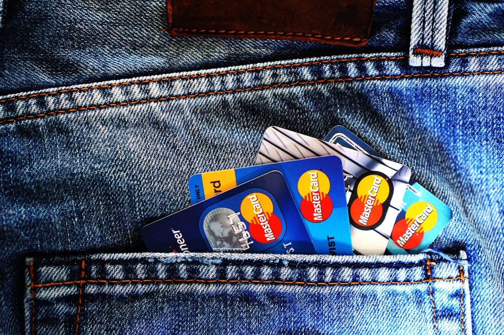 Credit cards in a jeans pocket