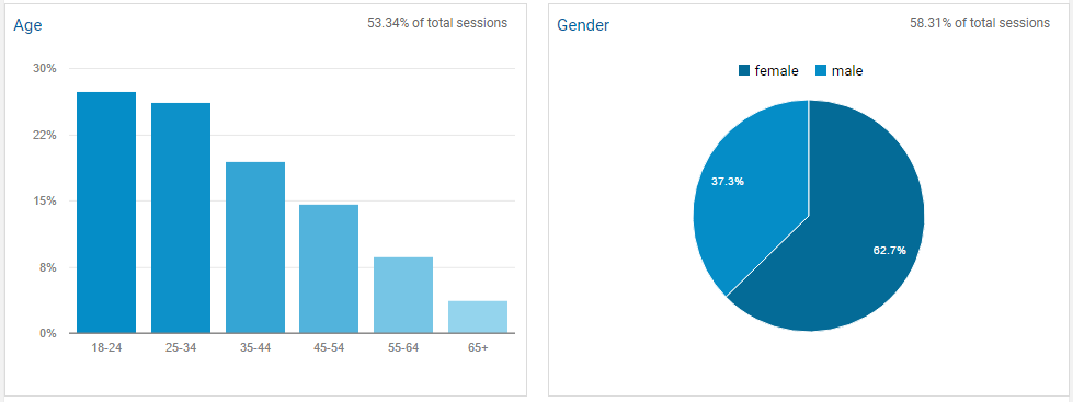 Google Analytics Demographics for Addiction Hope