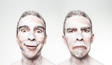 Man showing range of emotions from LSD.