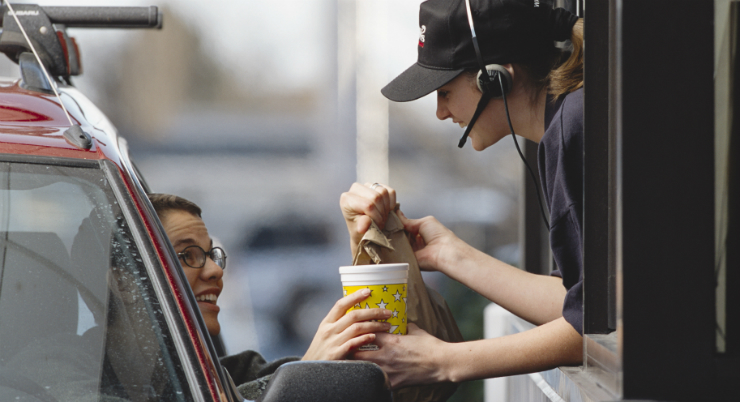 Lady in Fast Food Drive-Thru working her Food Addiction Treatment