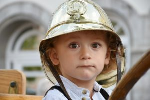 Child wearing a helmet