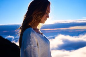 Woman in the clouds