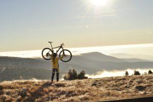 Victorious mountain biker