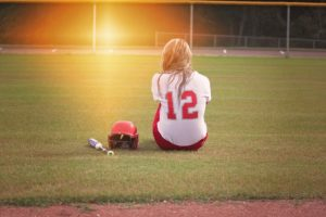Teen on baseball field