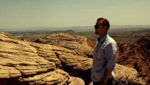 Man standing in the desert