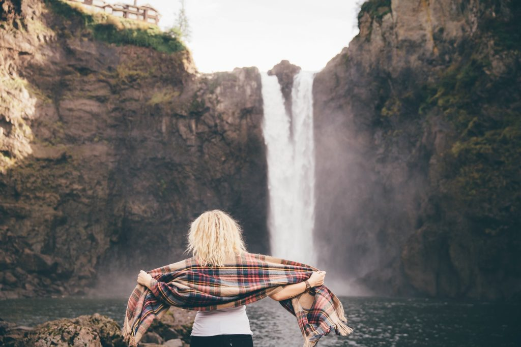 Woman and waterfall