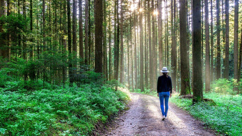 Woman walking path