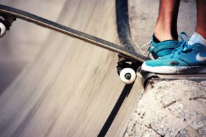 Skateboard and shoes