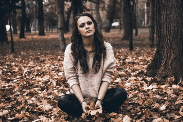 Woman struggling with seasonal depression