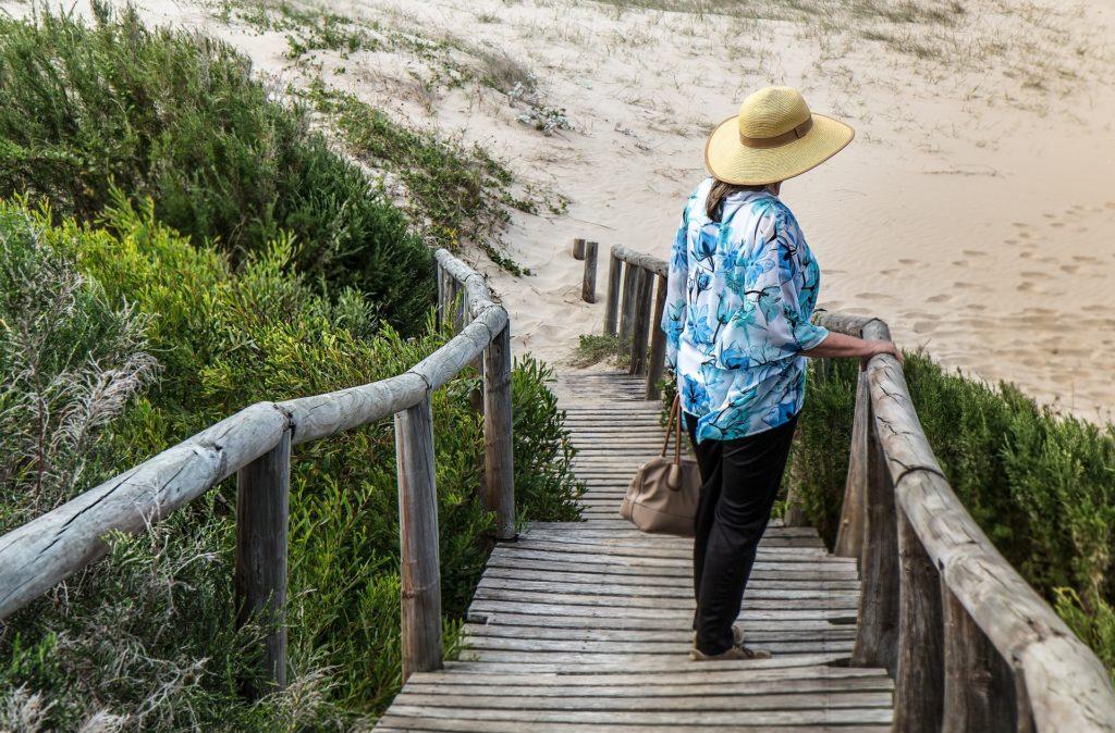 Woman on the sea shore