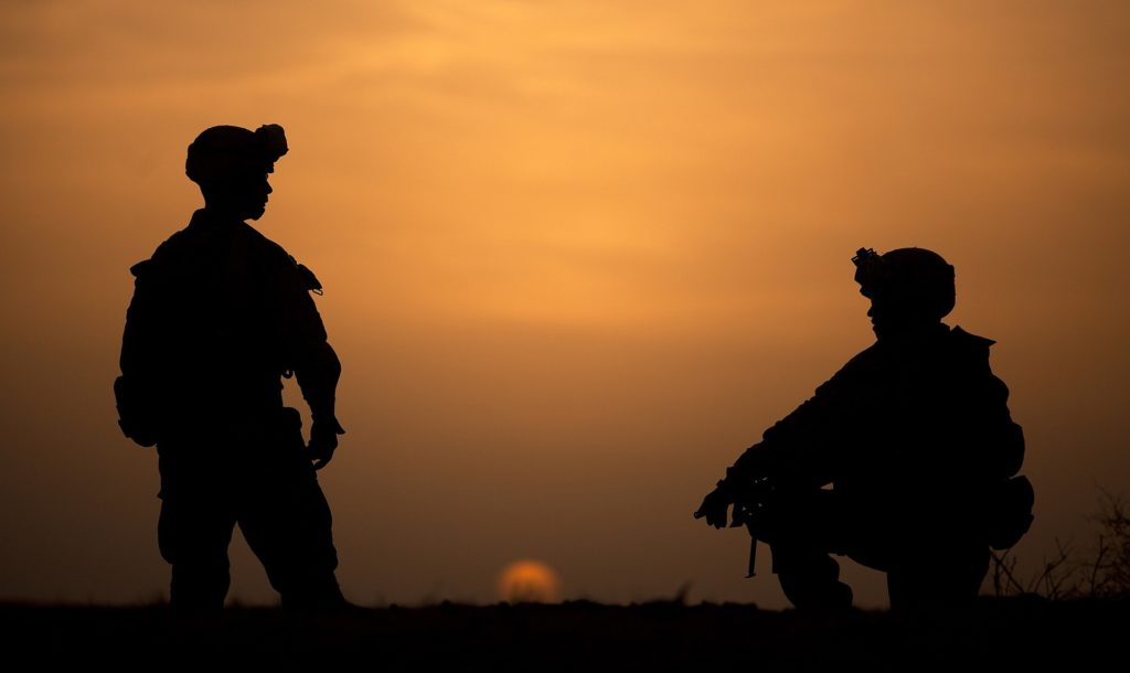 Soldier in a sunset