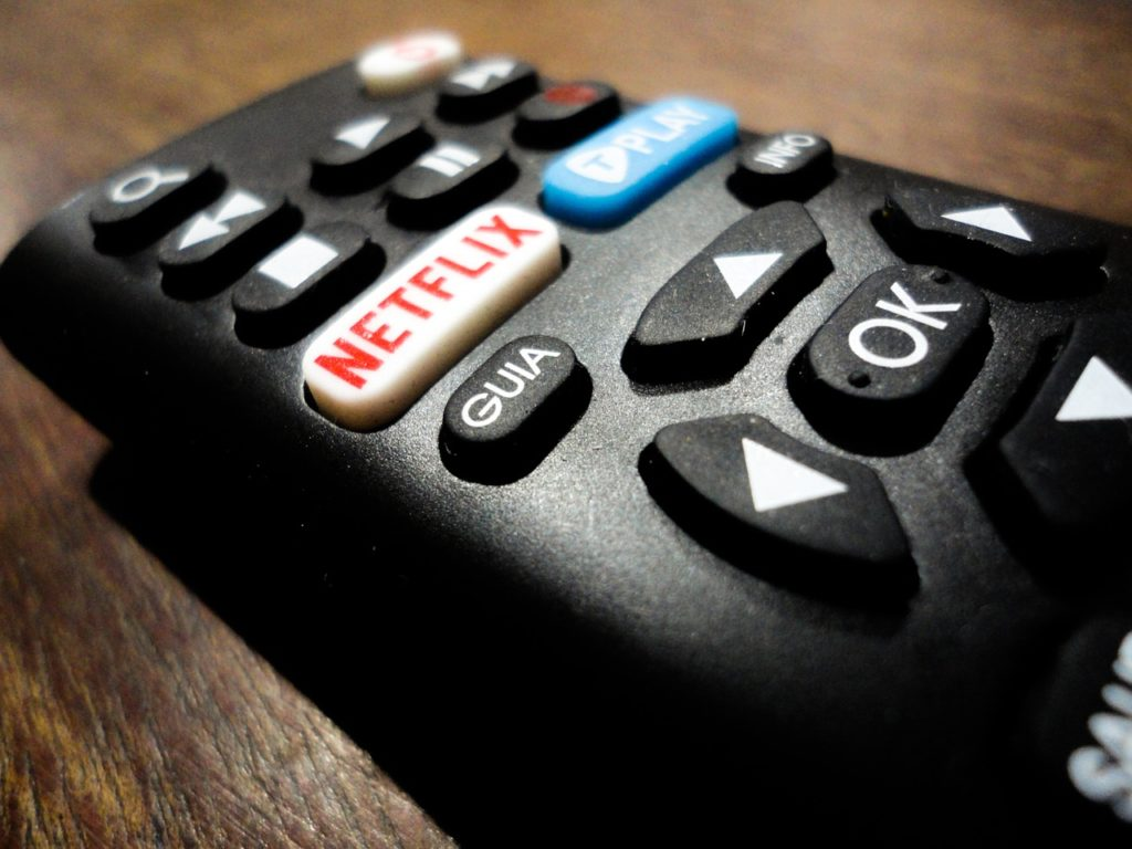 Remote control showing netflix button