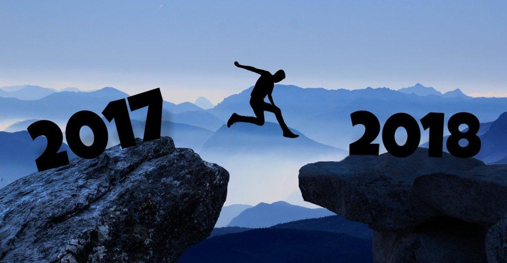 Man leaping into new year
