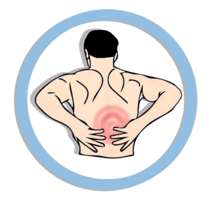 Drawing of Man With Back Pain is one of many Pain Patients