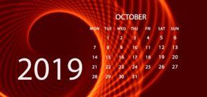 Oct 2019 Calendar
